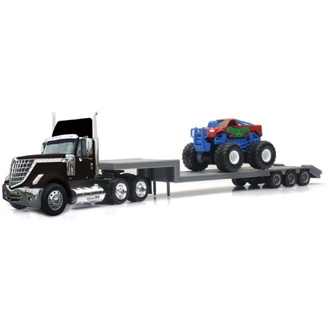 New Ray 16653 International Lonestar with Lowboy Trailer Hauling A Monster Truck