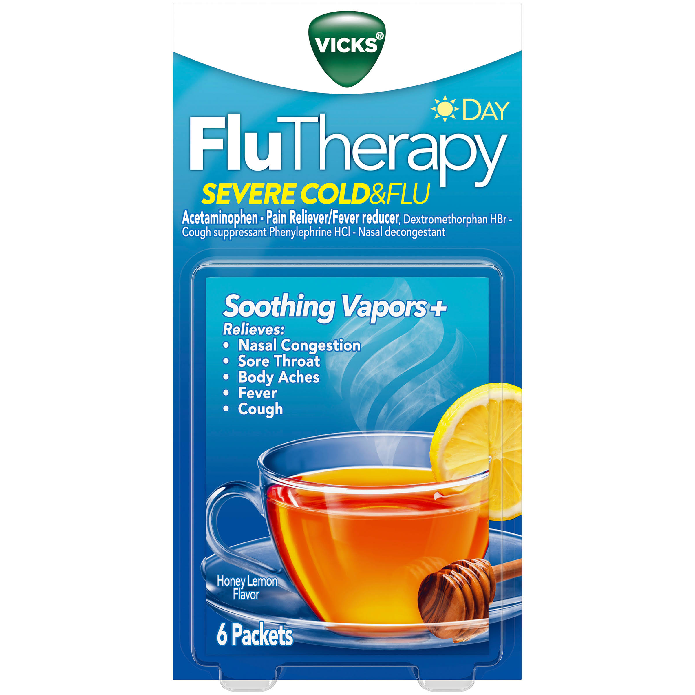 Vicks Flu Therapy, Severe Cold & Flu, Day, Honey Lemon Flavor - 6 packets