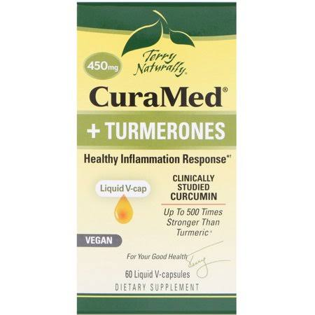 Terry Naturally CuraMed Turmerones Supplement - 450mg, 60 Liquid V-Capsules