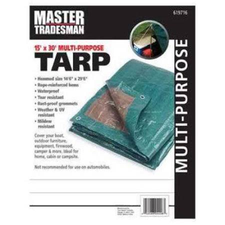 Hunter Green/Brown Polyethylene Tarp, 15 x 30-ft.