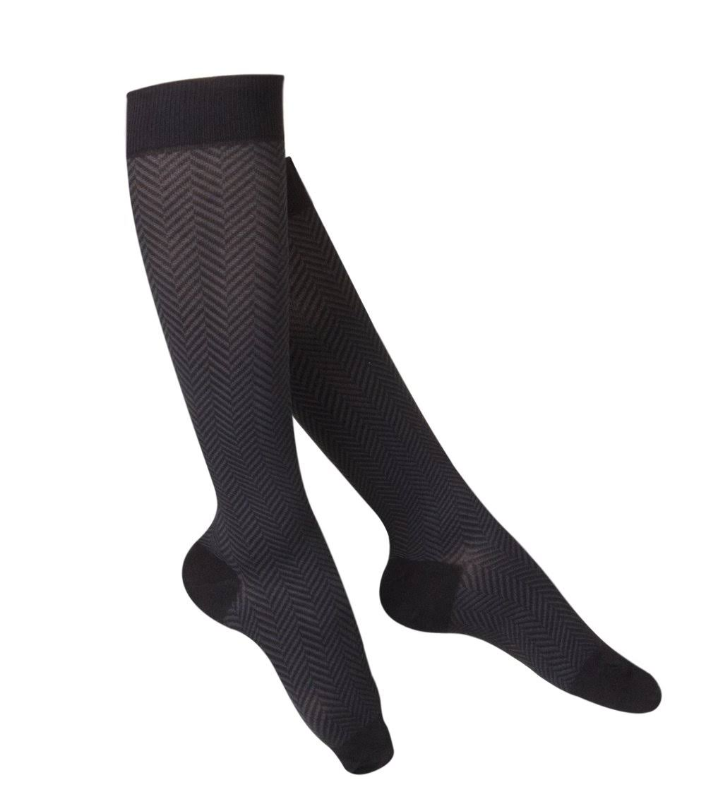 Touch 1071, Women's Compression Socks, Knee High, Herringbone Pattern, 20-30 mmHg, Medium