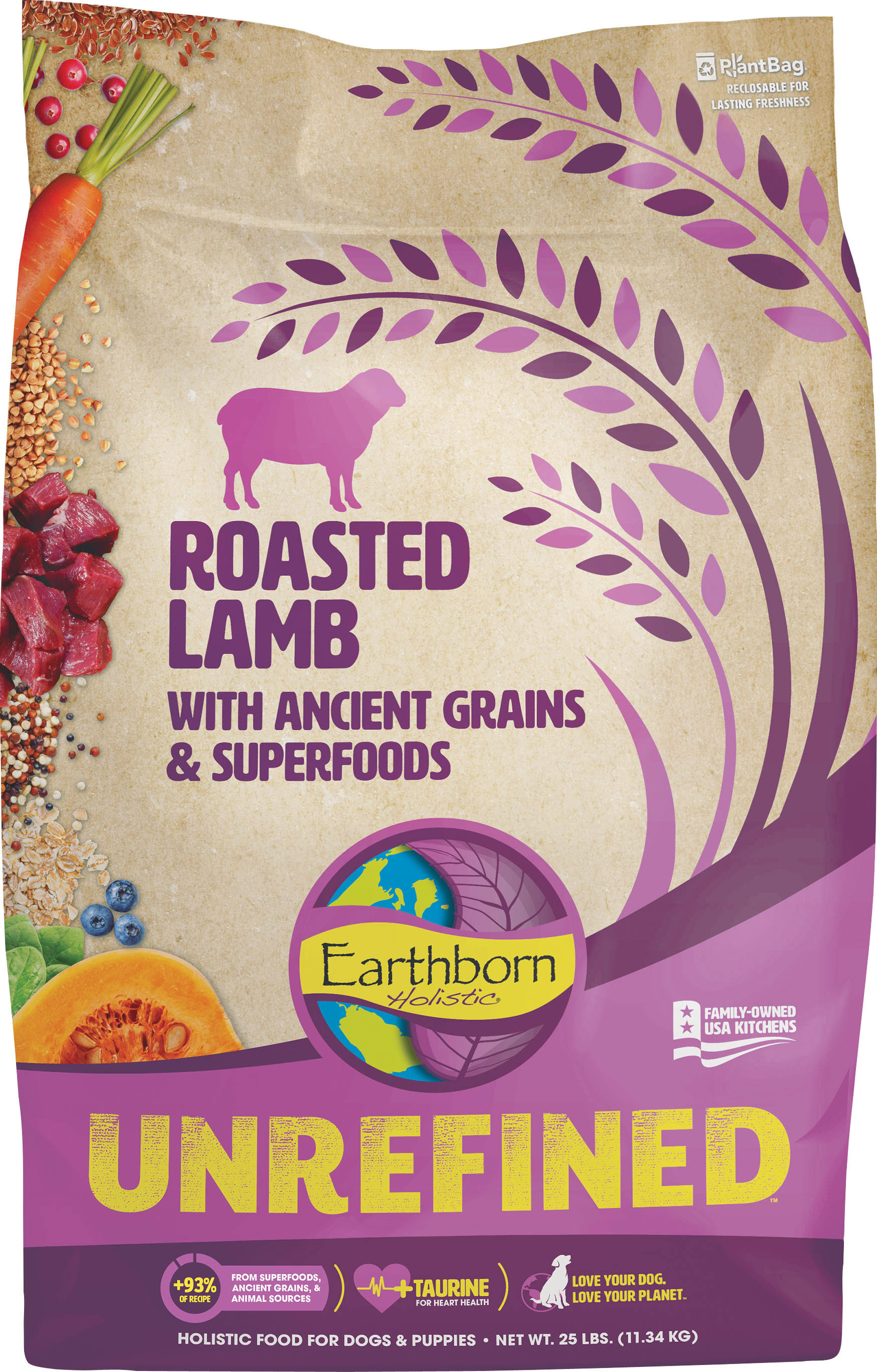 Earthborn Unrefined Holistic Dog Food - 25lbs