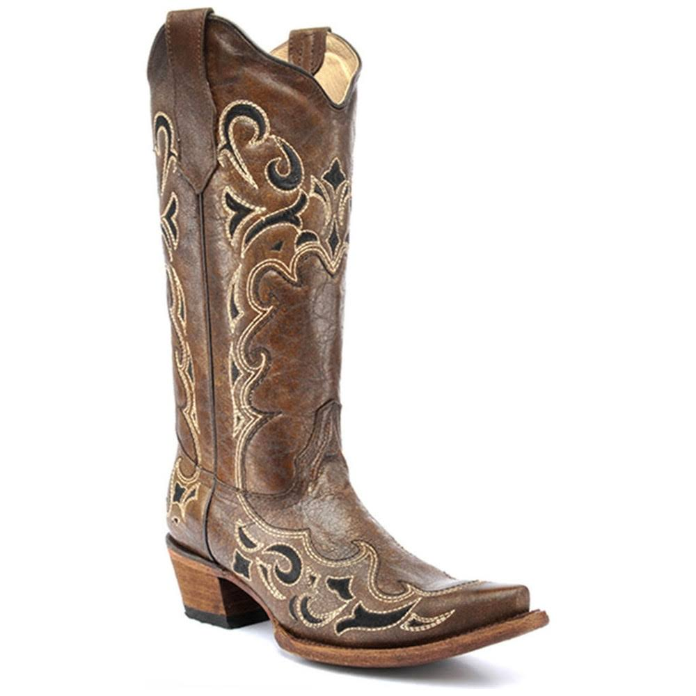 Circle G Women's Embroidered Cowgirl Boot Snip Toe - Yellow, Size 8 US