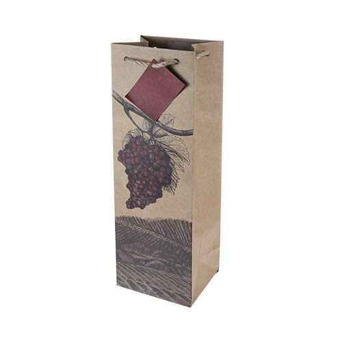 Cakewalk 7006 Illustrated Grapes Single Bottle Wine Bag, Brown