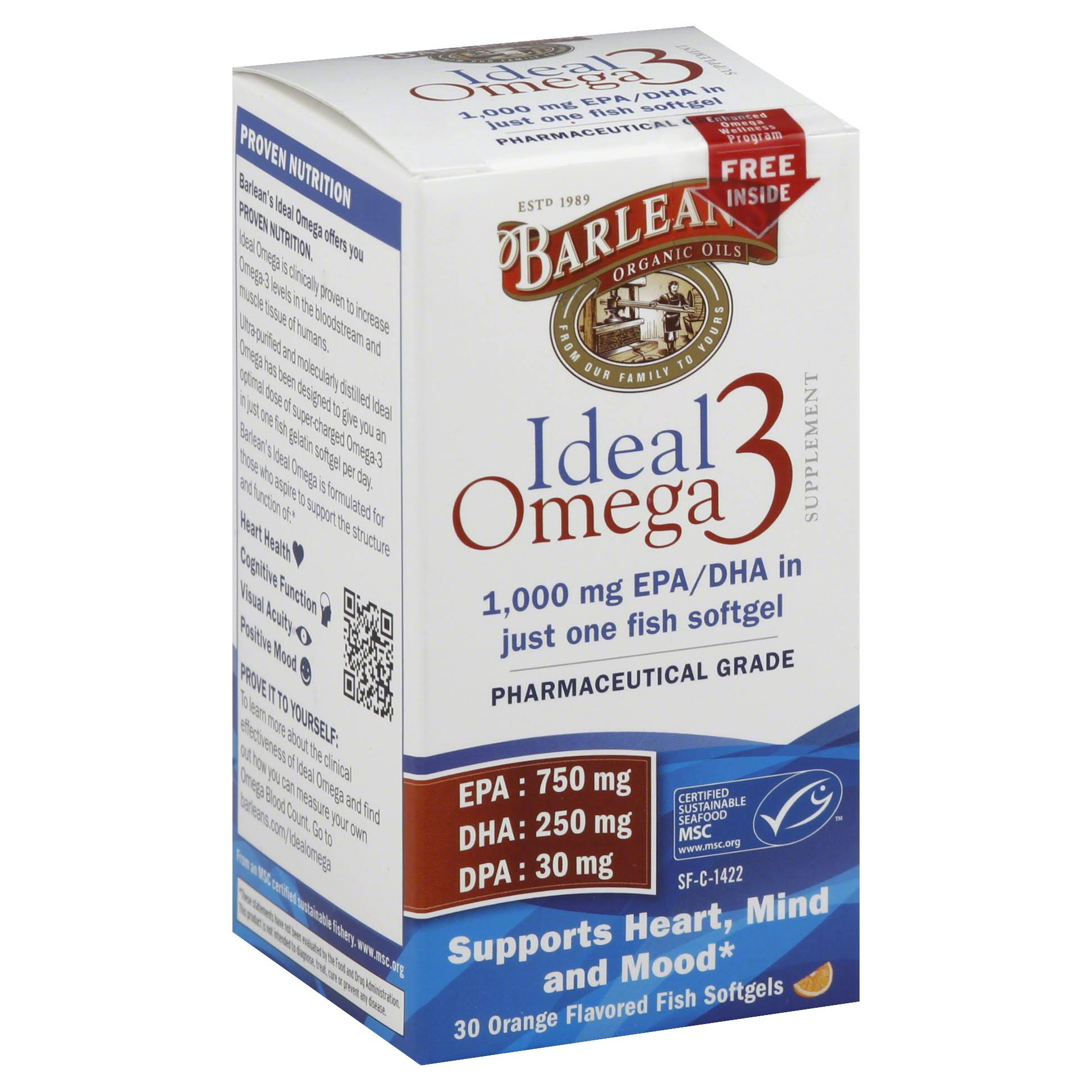Barlean's Organic Oils Ideal Omega-3 Nutritional Supplement Softgel - 30ct