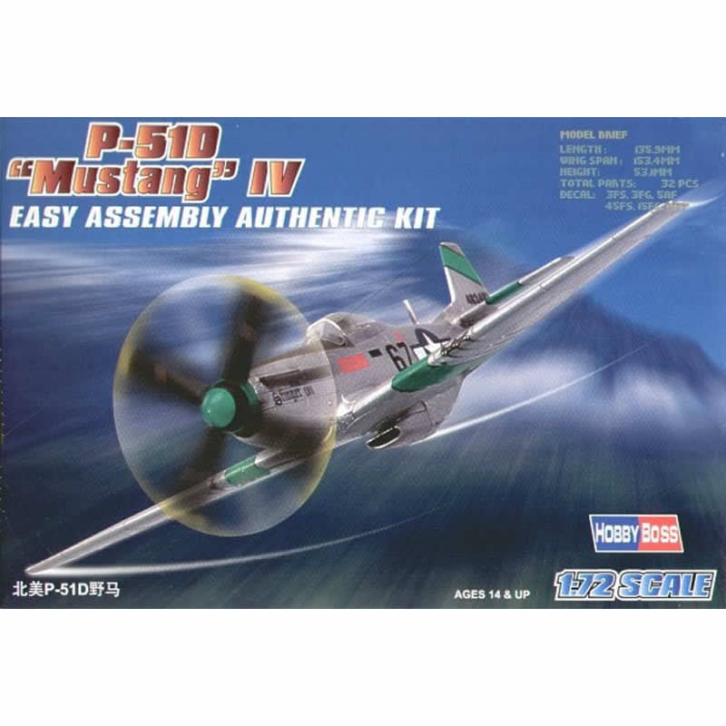 Hobby Boss P-51D Mustang IV Airplane Model Building Kit - 1:72 Scale