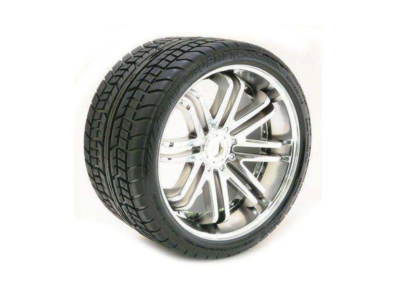 Sweep Road Crusher Belted Monster Truck Tires on Silver Rims (2)