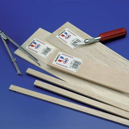 Midwest Balsa Wood Strips - 1/4 x 1/2 x 36in, 12pcs