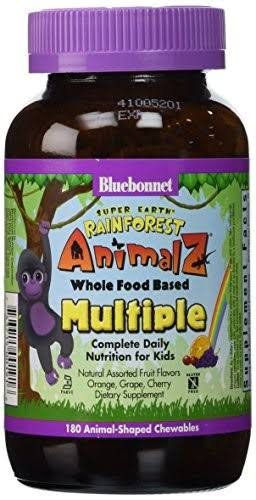 Bluebonnet Super Earth Rainforest Animalz Whole Food Based Multiple Animal Shaped Chewables - x180, Assorted Fruit Flavors