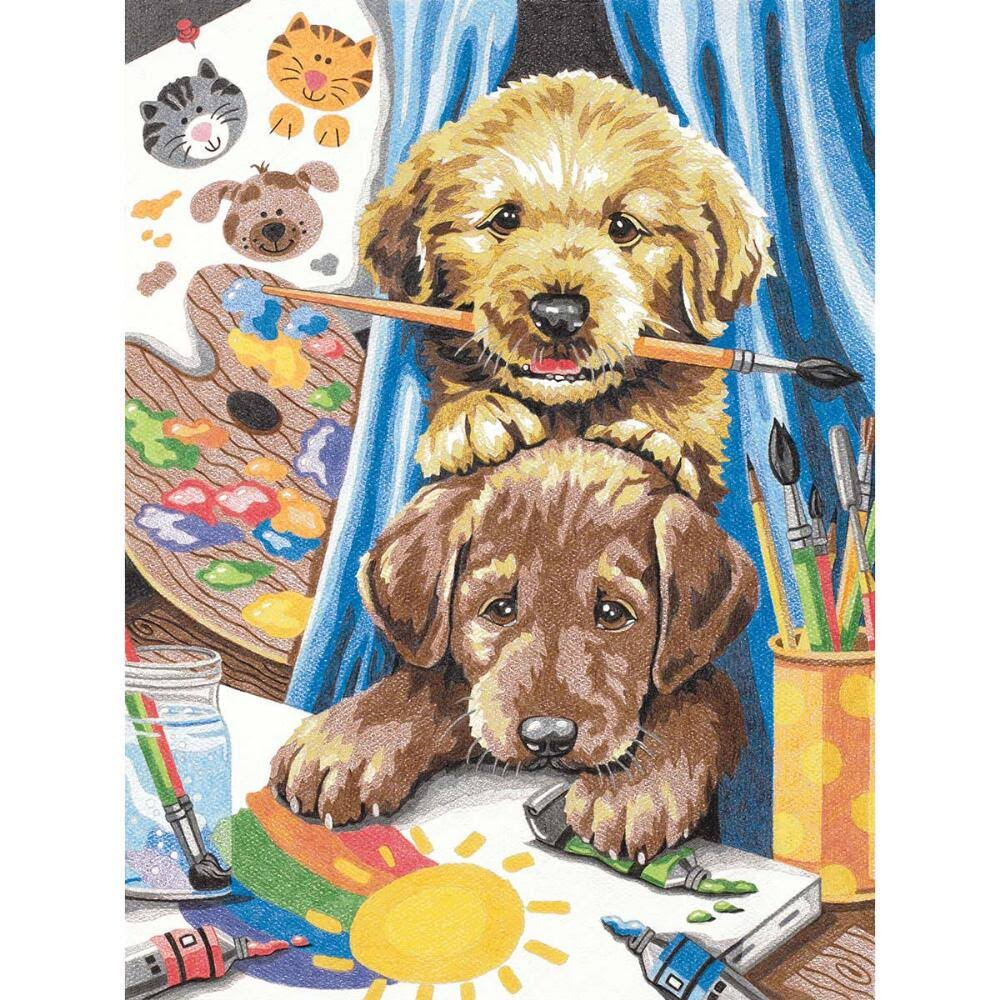 73-91688 Paintworks Pencil by Number 9x12 Puppies
