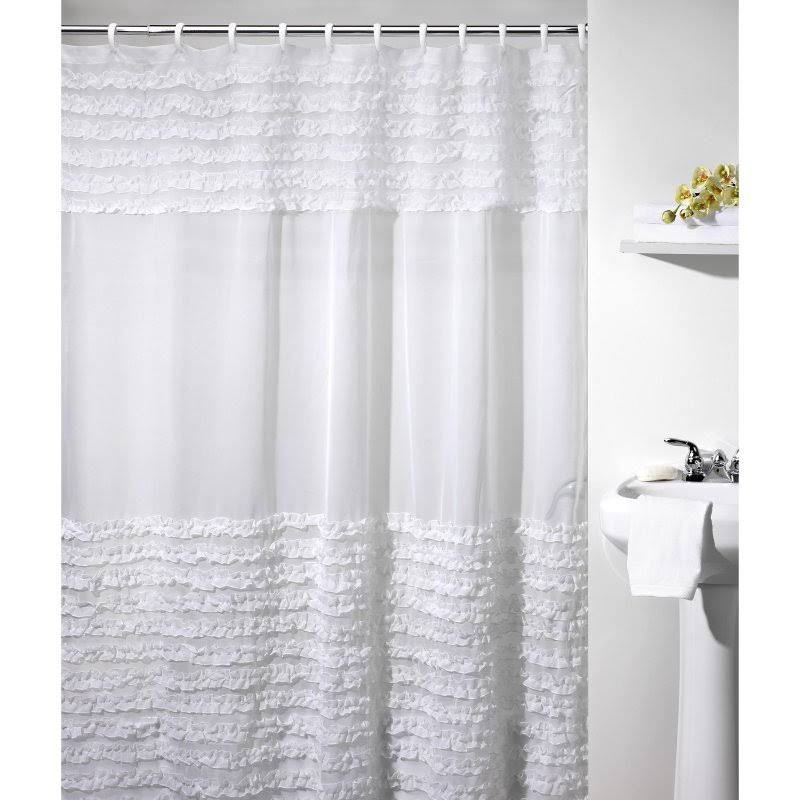 Creative Bath Ruffles Shower Curtain White