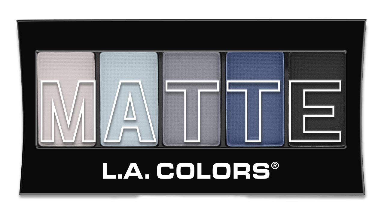 L.A. Colors 5 Color Matte Eyeshadow Palette - Blue Denim, 0.08oz