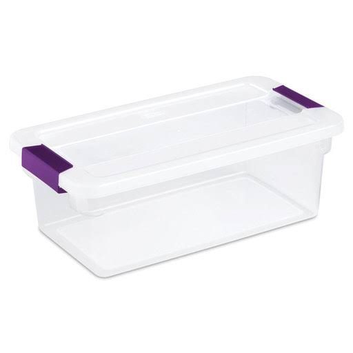 Sterilite Clearview Latch Storage Container - with Sweet Plum Handles, 6 Quart