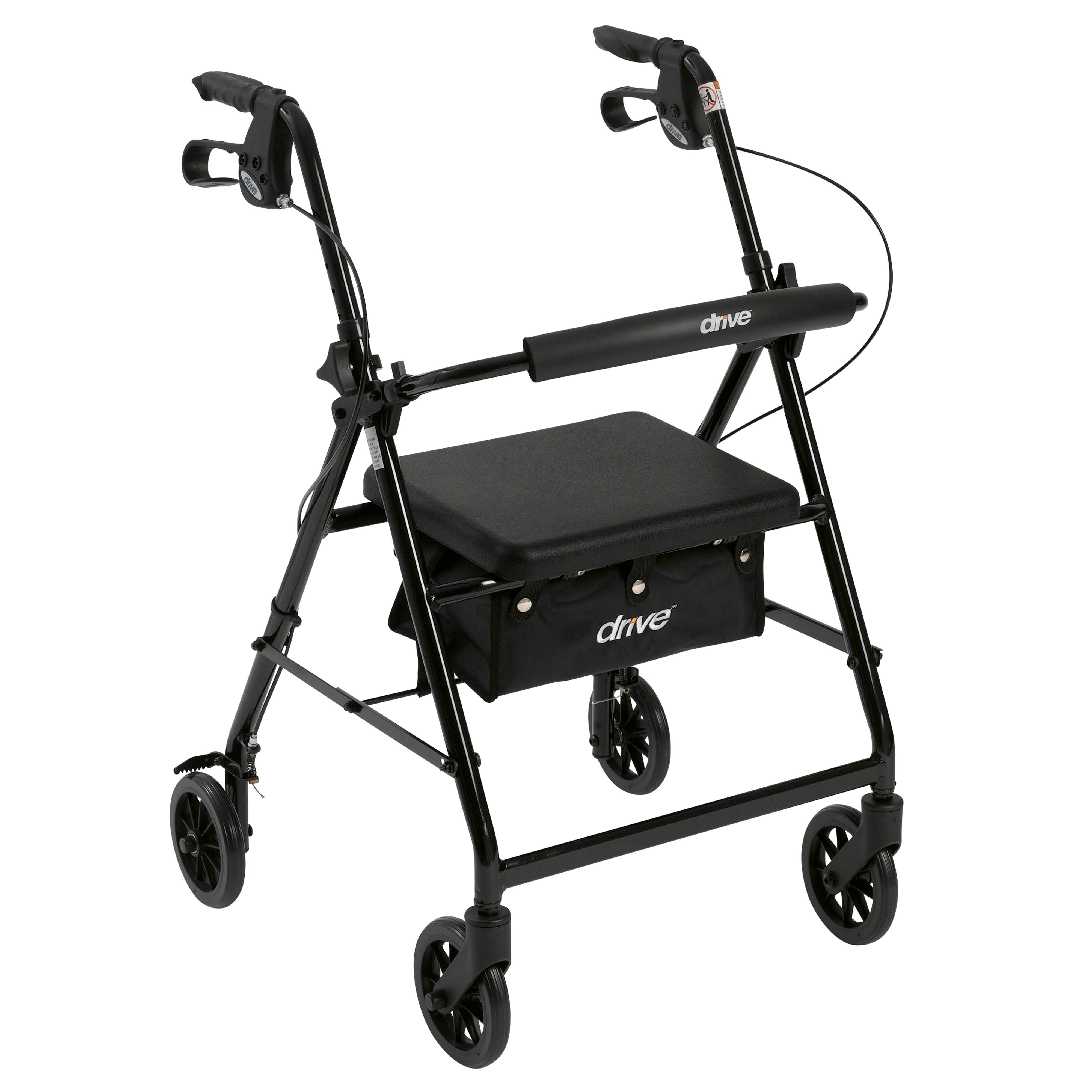 Drive 4-Wheel Rollator Walker with Fold Up and Removable Back