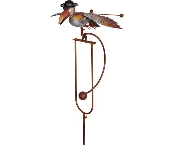 World Source Partners WSPWX14080 Kinetic Rocking Bird with Derby on a Garden Stake - 61""