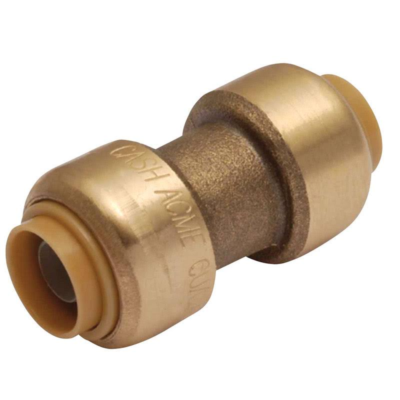 SharkBite Coupling Push Fit Fitting - Brass, 3/8""