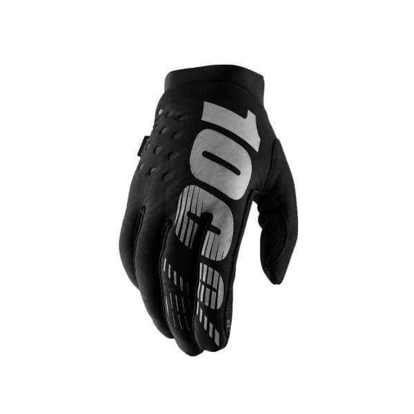 Cycling Full Finger 100 Brisker Gloves - Black/Grey, Large