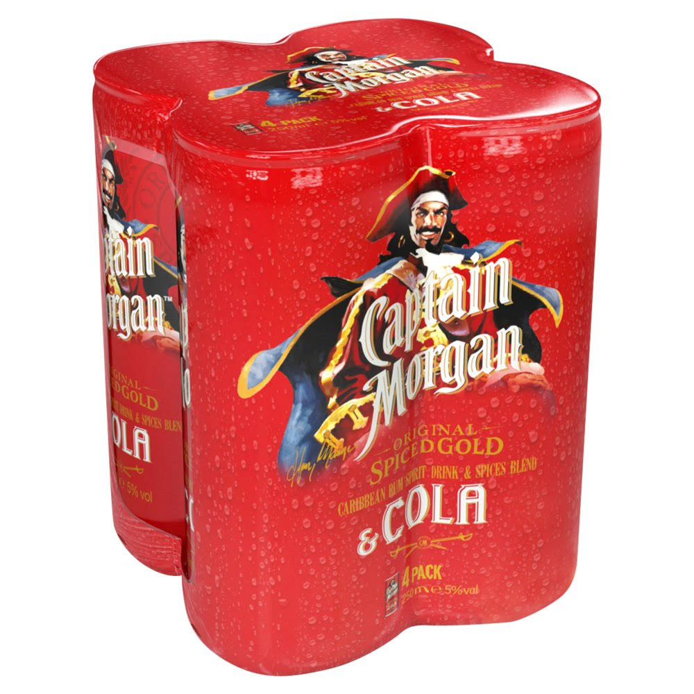Captain Morgan Spiced Rum and Cola - 4 Pack