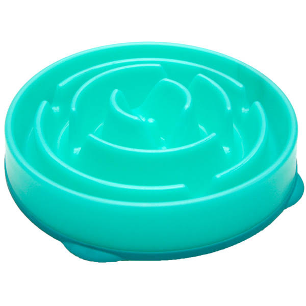 Outward Hound Kyjen 51002 Fun Feeder Slow Feed Interactive Bloat Stop Dog Bowl - Blue, Large