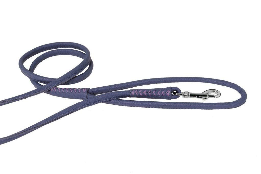 "Dogline Soft and Padded Rolled Round Leather Dog Leash - Purple, 3/8"" x 4'"