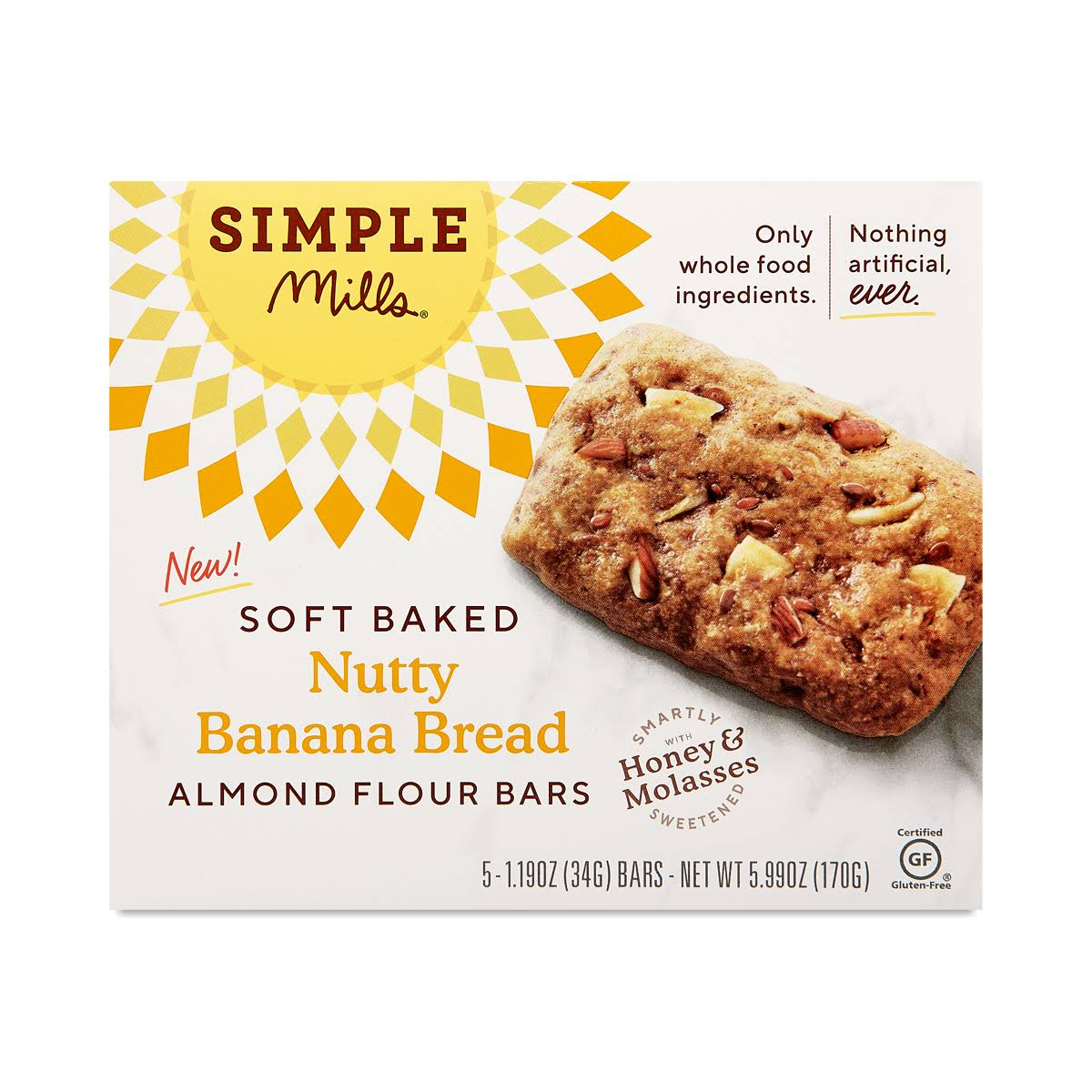 Simple Mills Almond Flour Bars, Soft Baked, Nutty Banana Bread - 5 pack, 1.19 oz g bars