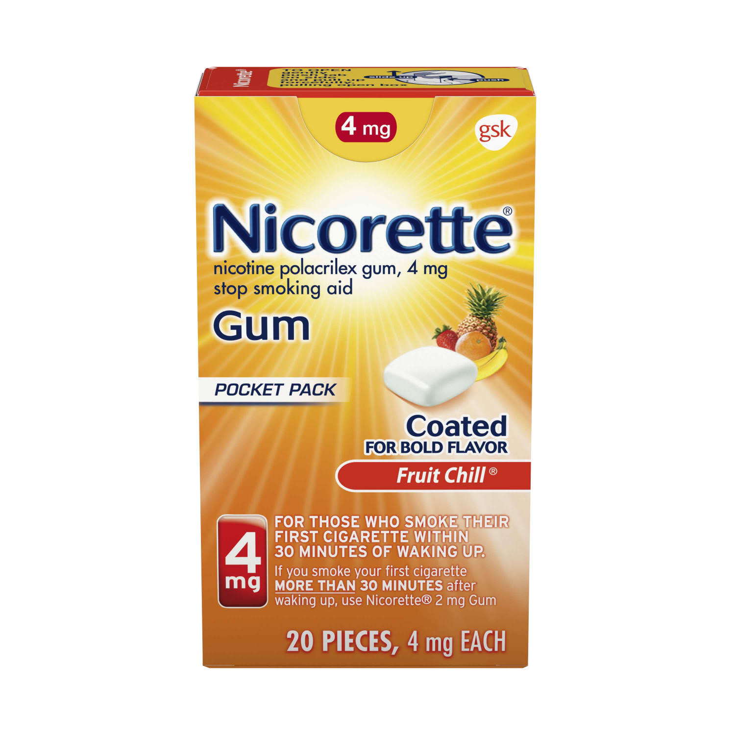 Nicorette Stop Smoking Aid Gum - 4mg, Fruit Chill Coated, 20ct