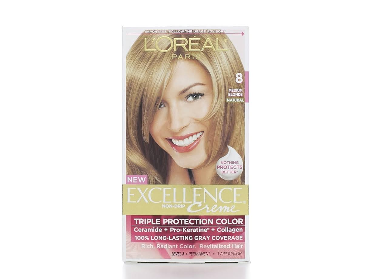 L'Oreal Paris Excellence Creme Permanent Hair Color - 8 Medium Blonde