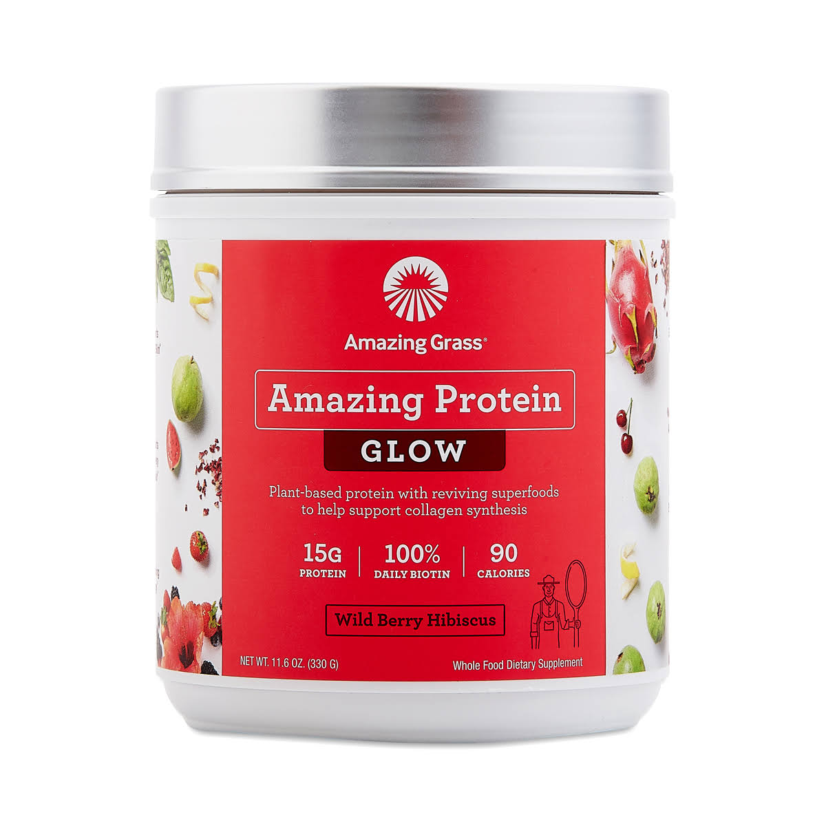 Amazing Grass Amazing Protein Powder - Glow, Wild Berry Hibiscus, 11.6oz