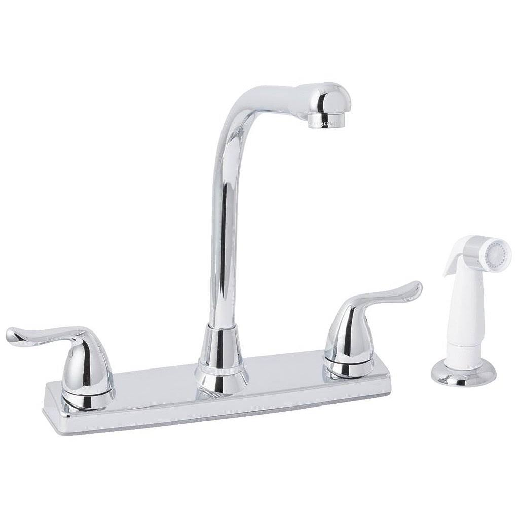 Globe Union F8F10048CP-JPA3 Home Impressions Double Metal Handle Kitchen Faucet with White Side Sprayer