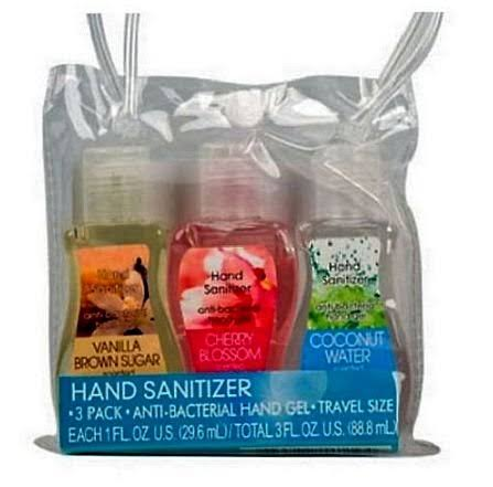 Greenbrier International 3 Pack Travel Size Scented Antibacterial Hand Sanitizers - Fresh Fruit, Ocean Breeze, Japanese Blossom