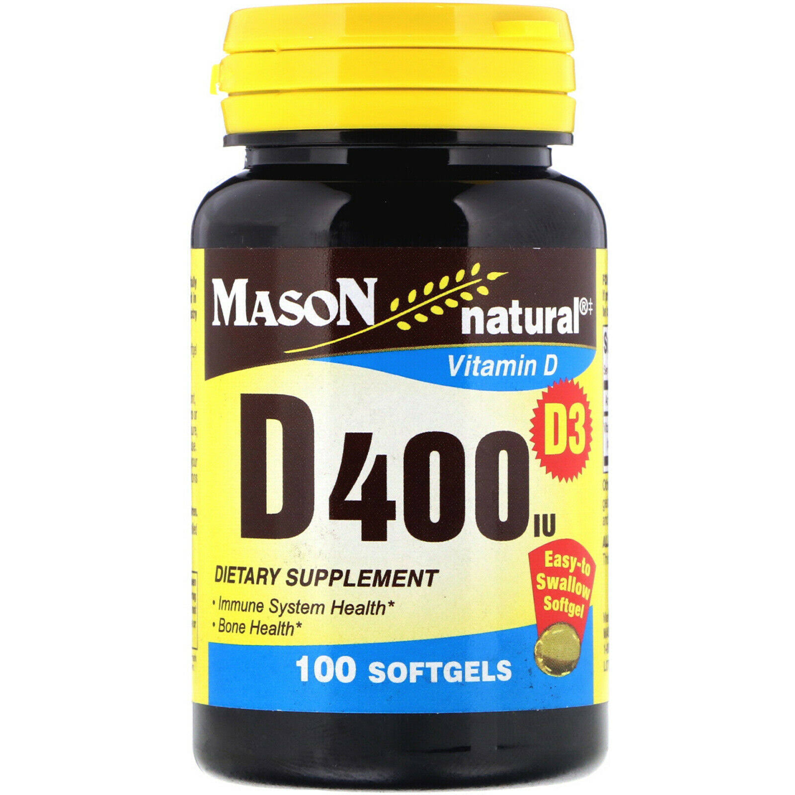 Mason Natural Vitamin D 400 IU Supplement - 100 Softgels