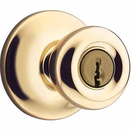 Kwikset 94002-444 Polished Brass Tylo Entry Knob, Size: Door Knob, Beige