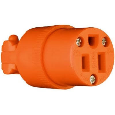 Pass and Seymour Heavy Duty Connector - Orange, 15 Amp