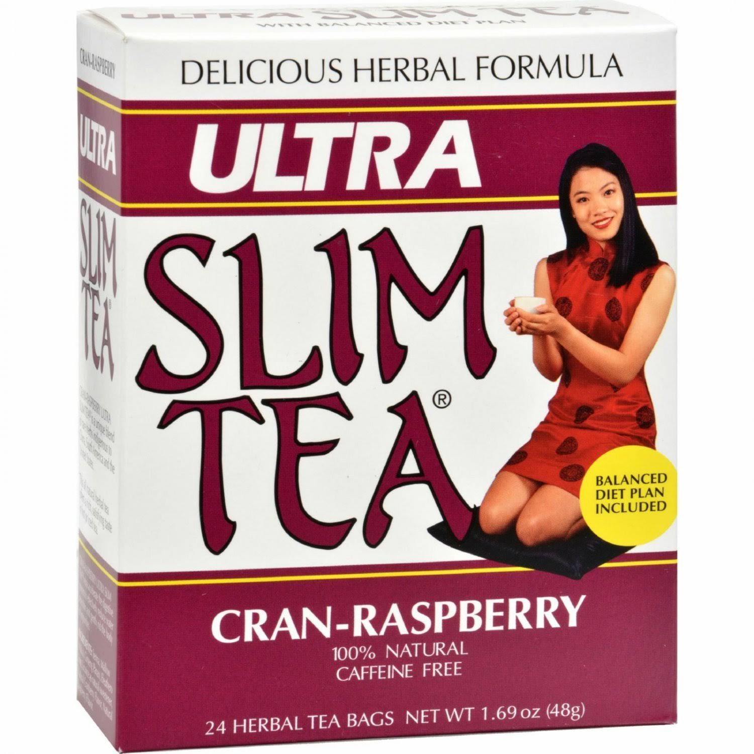 Ultra Slim Tea Herbal Tea - Cran-Raspberry, 24 Tea Bags, 48g