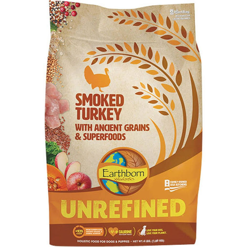 Earthborn Holistic Unrefined Smoked Turkey with Ancient Grains & Superfoods Dry Dog Food, 4-lb Bag