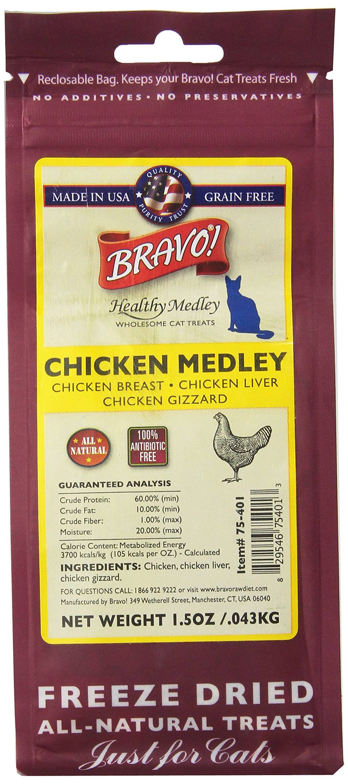 Bravo Freeze Dried Natural Cat Treats - Chicken Medley