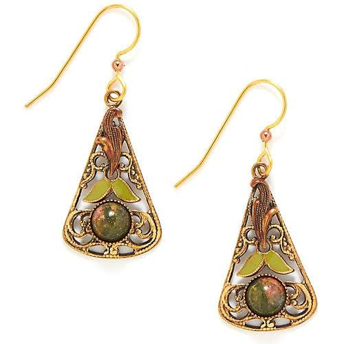Silver Forest Leaf Filigree Drop Earrings