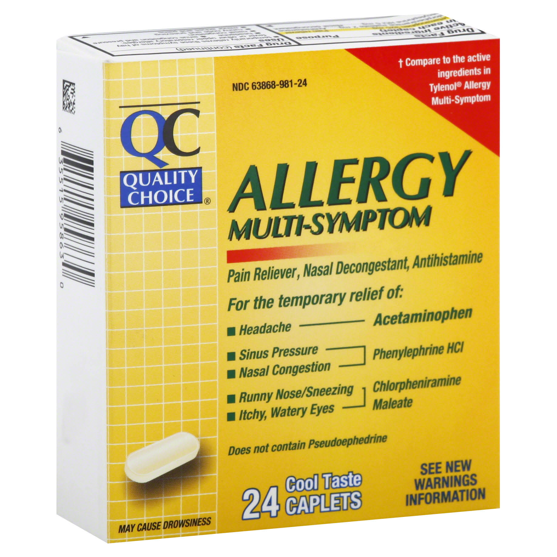 Quality Choice Allergy, Multi-Symptom, Cool Taste Caplets - 24 caplets