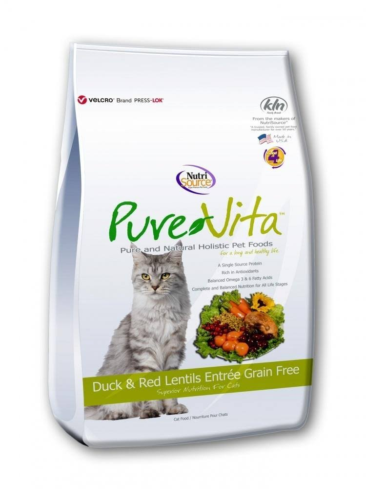 PureVita Grain Free Duck & Red Lentils Dry Cat Food 6.6-lb