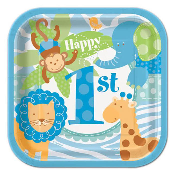 Blue Safari First Birthday Beverage Napkins - 24ct