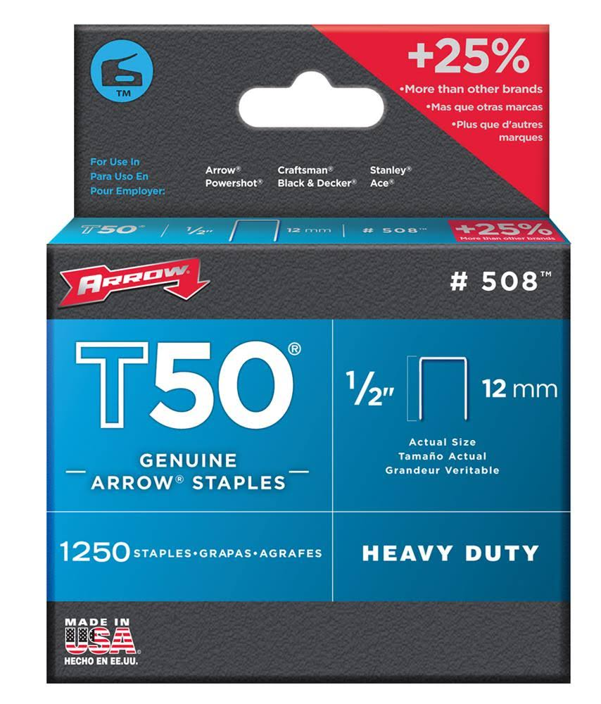 "Arrow T50 Genuine Arrow Heavy Duty Staples - #508, 1/2"" x 12mm"