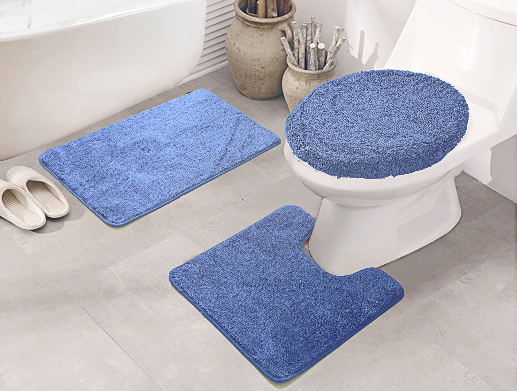 RT Designers Collection Royalty 3 Piece Bath Rug Set Blue