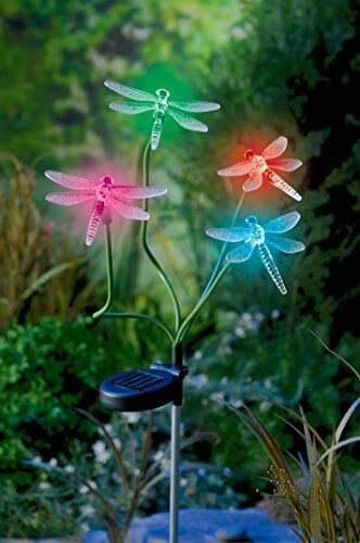 Solar Power Dragonfly - Color-Changing Stake