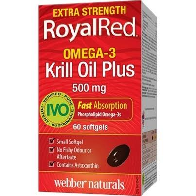 Webber Naturals Royal Red Omega3 Krill Oil Plus Extra Strength - 5oomg, 60ct