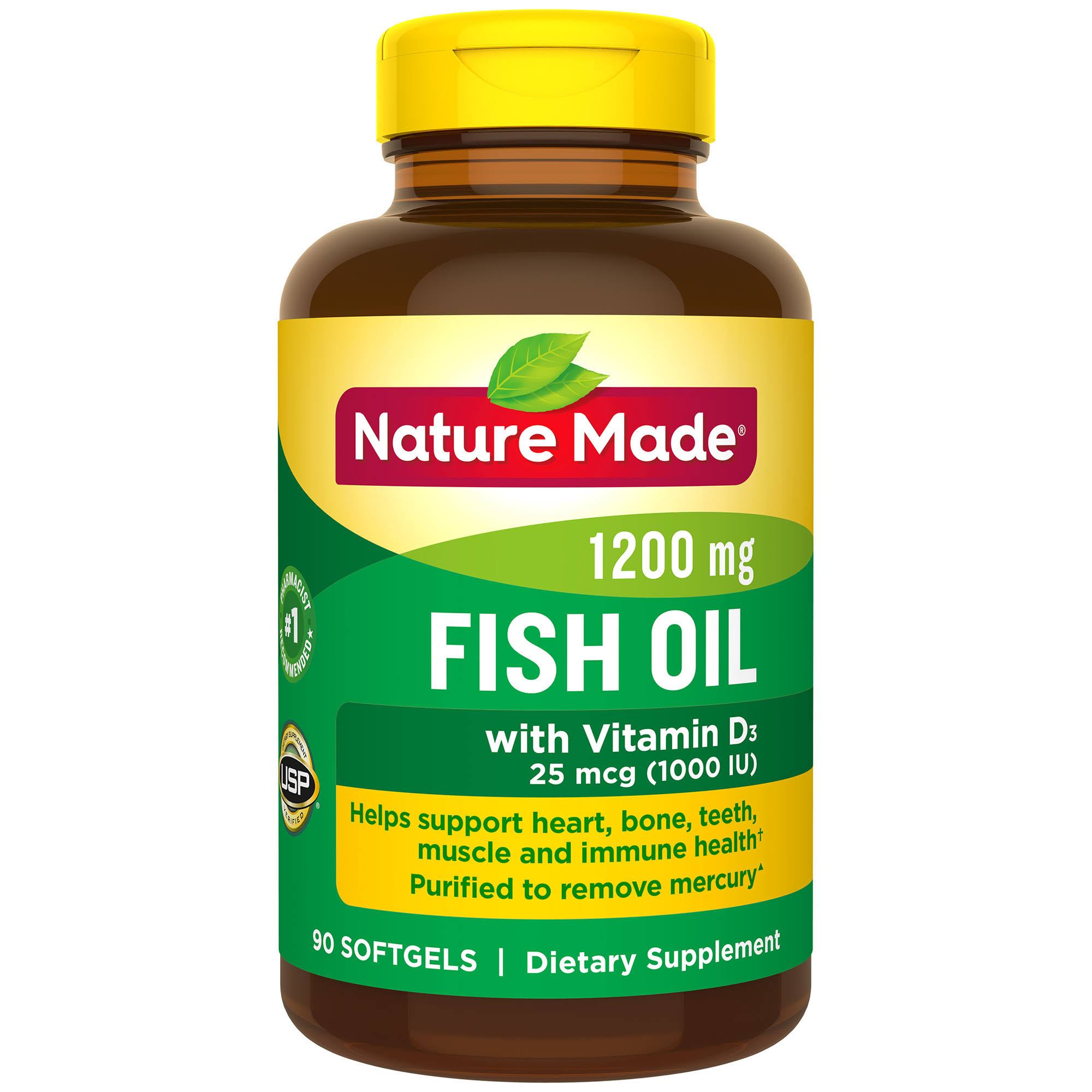 Nature Made Fish Oil Vitamin D Supplement - 90 Liquid Softgels