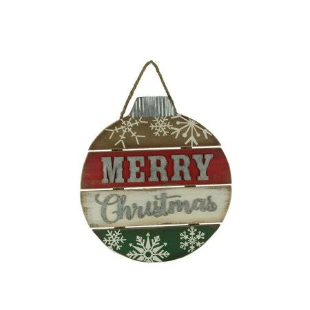 Red White and Green Wood Merry Christmas Ornament Wall Hanging