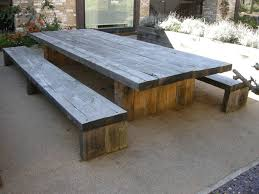 exterior long diy solid wood picnic table with double bench seat