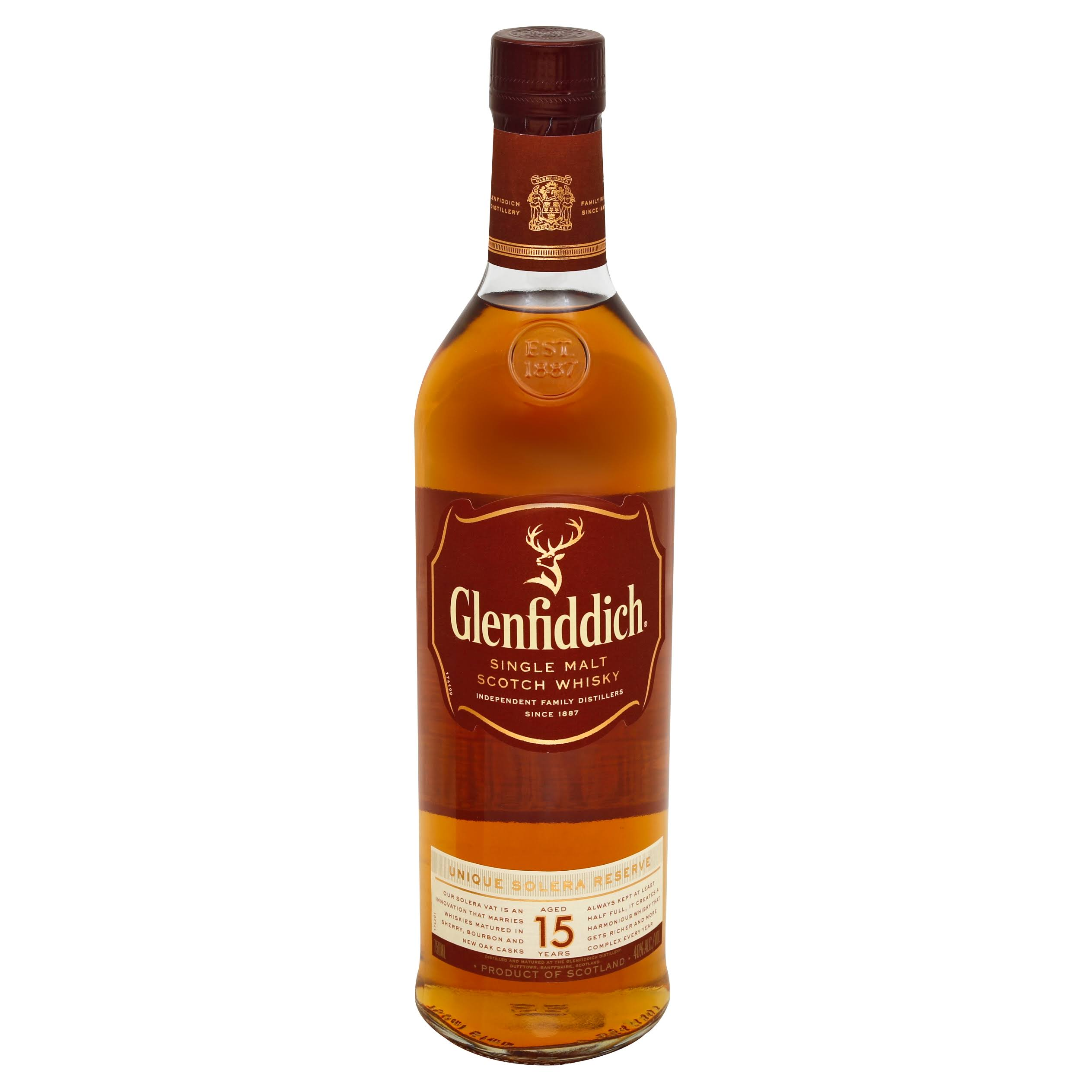 Glenfiddich Scotch Whisky, Single Malt, Aged 15 Years - 750 ml