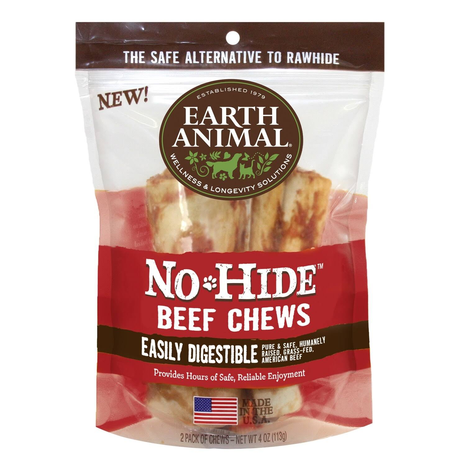 "Earth Animal No-Hide Beef Chews 4"" 2-Pack"
