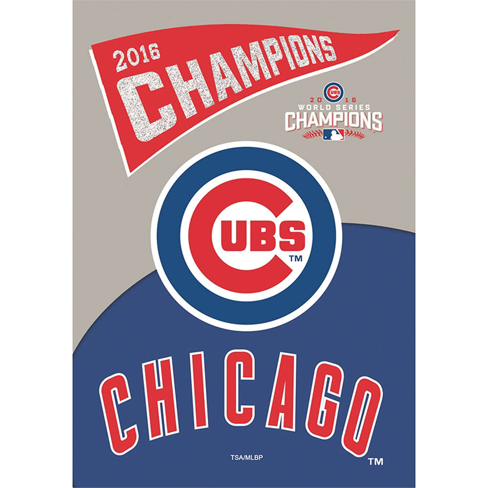 Chicago Cubs 2016 World Series Champions Glitter 2 Sided Banner Flag